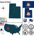 Map of Utah vector image vector image