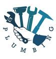 plumbing repair tool in hand vector image vector image