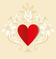 red paper love heart with ornamental floral vector image vector image