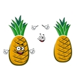 Ripe yellow pineapple fruit character vector image vector image