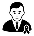 sad gentleman with mourning ribbon black icon vector image vector image
