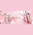 sakura cosmetics bottles banner serum and primer vector image vector image