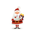 santa claus with gift and present box happy vector image vector image