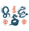 set a sea dragon cartoon animal character vector image
