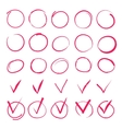 Set of hand drawn highlight red circles and check vector image vector image