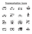 set public transport related icons contains vector image vector image