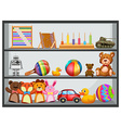 Shelves fullo f toys vector image vector image