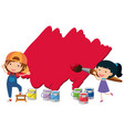 two kids painting wall with red color vector image vector image