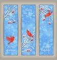 Vertical Christmas Banners Bird Rowan Branches vector image vector image