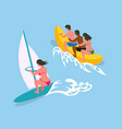 woman swimming on surfboard people on banana vector image