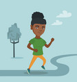 young african-american woman running in the park vector image