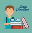 young man with education online supplies vector image vector image