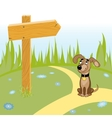 Dog and wooden arrow on the road vector image