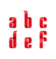 a b c d e f lowercase letters font from a red vector image