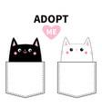 adopt me black white cat set in pocket cute vector image vector image