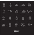 army editable line icons set on black vector image vector image