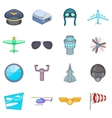 Aviation icons set cartoon style vector image vector image