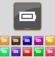 Battery fully charged icon sign Set with eleven vector image vector image