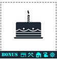 Birthday cake icon flat vector image