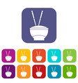 bowl of rice with chopsticks icons set flat vector image vector image