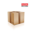 brown closed carton delivery packaging box with vector image vector image