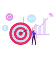 businessman stand at huge target with arrow in vector image vector image
