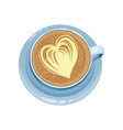 cappuccino cup with heart design on top drawings vector image