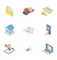 cash delivery icons set isometric style vector image