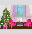 classic livingroom interior with christmas tree vector image vector image