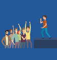 concert artist and fans side view stage vector image