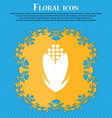 Corn icon sign Floral flat design on a blue vector image