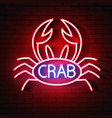 crab sign with neon light glowing vector image vector image