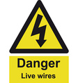 danger live wires safety sign vector image vector image