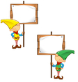 Elf Mascot Holding Wooden Sign vector image