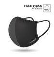 face mask fabric black color mock up side view vector image vector image