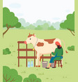 farmer woman milking cow countryside vector image