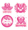 february valentine love badges vector image vector image