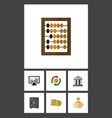 Flat icon finance set of chart bank cash and vector image