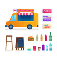 food truck trade isolated icons set vector image vector image