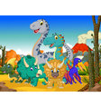 funny dinosaur cartoon with volcano background vector image vector image