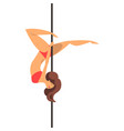 girl dancing with a pole dance on the pylon vector image vector image
