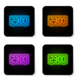 glowing neon retro flip clock icon isolated on vector image