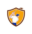 Golfer Swinging Club Crest Cartoon vector image vector image