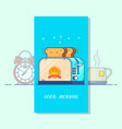 good morning cardtoaster colorful line icon vector image vector image