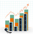 graph of growth the cost of a barrel of oil vector image vector image