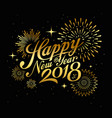 happy new year with firework gold vector image vector image