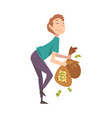 happy wealthy guy with bags full money lucky vector image vector image