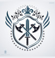 heraldic sign made with decorative elements vector image vector image