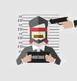 Hostage On Mugshot With Gun Point To His Head vector image vector image