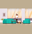 housewife cleaning couch with vacuum cleaner vector image vector image